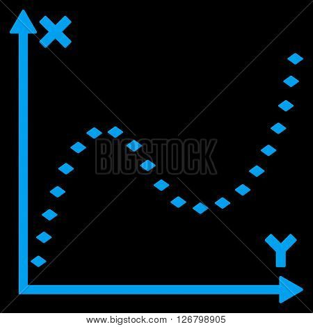Dotted Function Graph vector toolbar icon. Style is flat icon symbol, blue color, black background, rhombus dots.