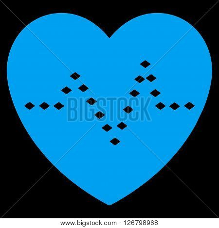 Dotted Heart Pulse vector toolbar icon. Style is flat icon symbol, blue color, black background, rhombus dots.
