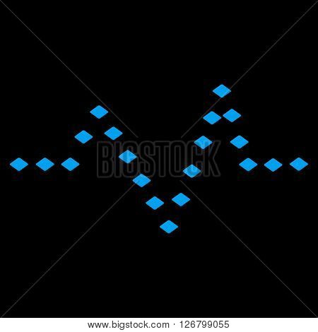 Dotted Pulse vector toolbar icon. Style is flat icon symbol, blue color, black background, rhombus dots.