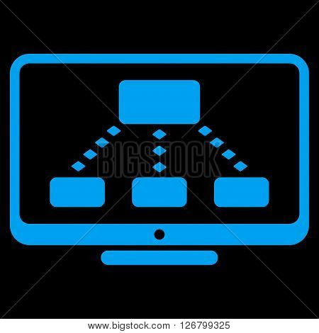 Hierarchy Monitoring vector toolbar icon. Style is flat icon symbol, blue color, black background, rhombus dots.