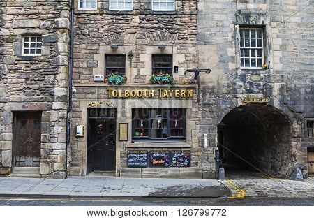 EDINBURGH SCOTLAND - MARCH 9TH 2016: A view of the historic Tolbooth Tavern situated along Canongate on the Royal Mile in Edinburgh on 9th March 2016.