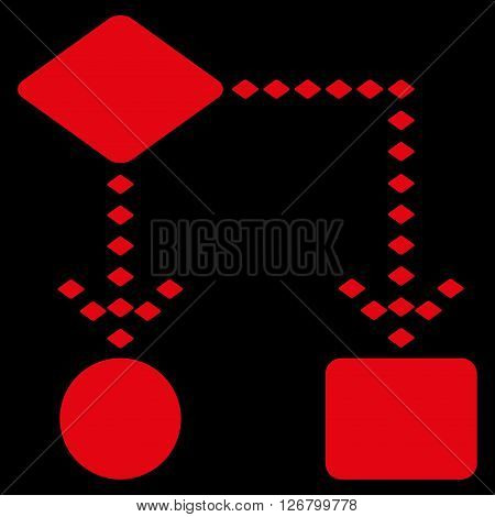 Algorithm Scheme vector toolbar icon. Style is flat icon symbol, red color, black background, rhombus dots.