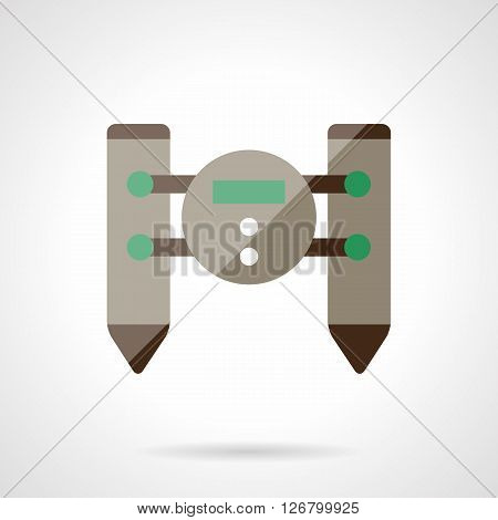 Floating unmanned robotic unit. Remote control catamaran. Radio toys, vehicles for surveillance and others. Flat color style vector icon. Web design element for site, mobile and business.
