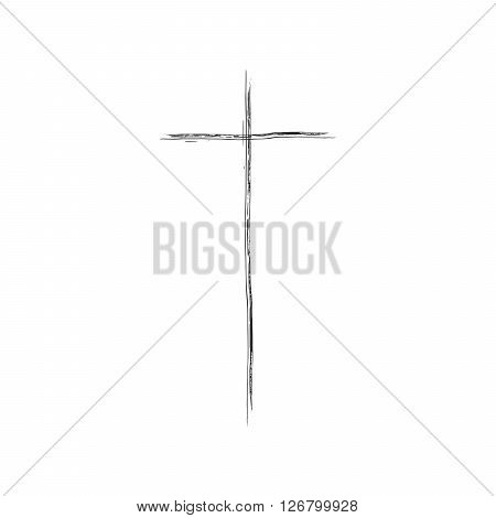 Christian cross grunge vector illustration. Old vector cross. Christian cross crucifix. Black cross vector