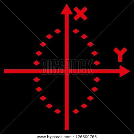 Dotted Ellipse Plot vector toolbar icon. Style is flat icon symbol, red color, black background, rhombus dots.