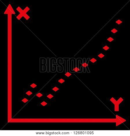 Dotted Function Plot vector toolbar icon. Style is flat icon symbol, red color, black background, rhombus dots.
