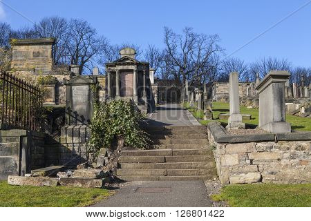 A view of New Calton Burial Ground in Edinburgh Scotland.