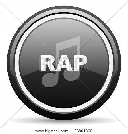 rap music black circle glossy web icon