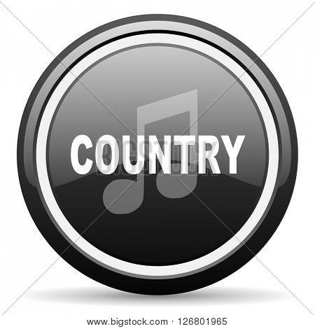 music country black circle glossy web icon