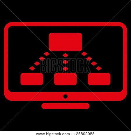 Hierarchy Monitoring vector toolbar icon. Style is flat icon symbol, red color, black background, rhombus dots.