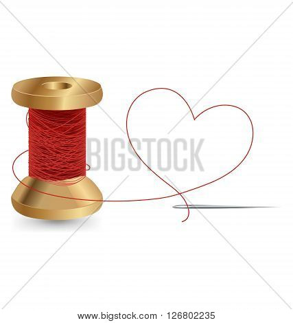 Heart With A Needle Thread and Reel Vector Design Love Concept