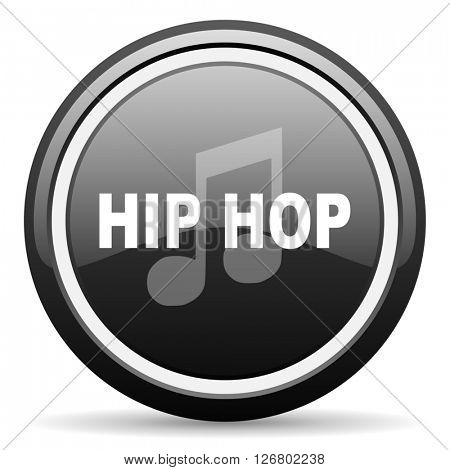 hip hop black circle glossy web icon