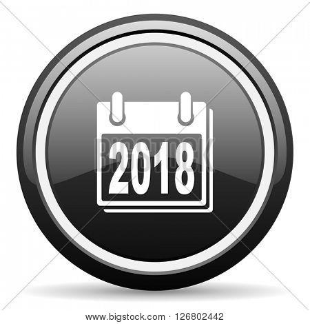 new year 2018 black circle glossy web icon