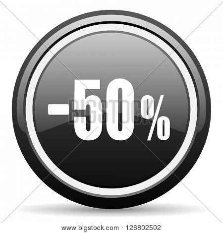 50 percent sale retail black circle glossy web icon