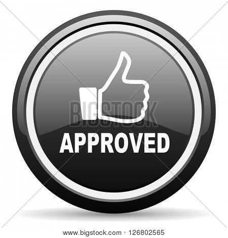 approved black circle glossy web icon