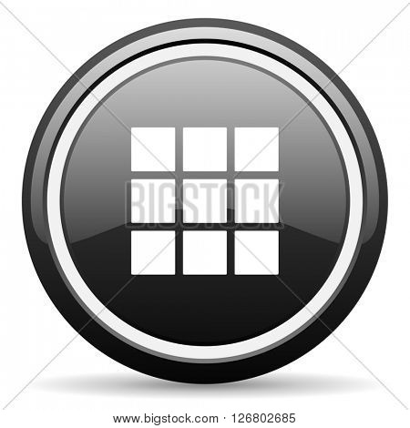 thumbnails grid black circle glossy web icon