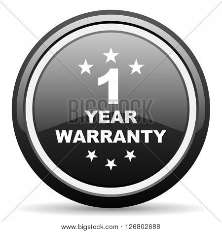 warranty guarantee 1 year black circle glossy web icon