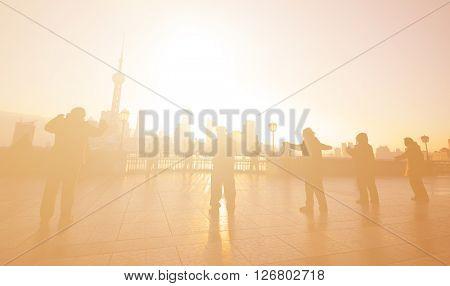 Exercising at Sunrise in Shanghai Culture Concept
