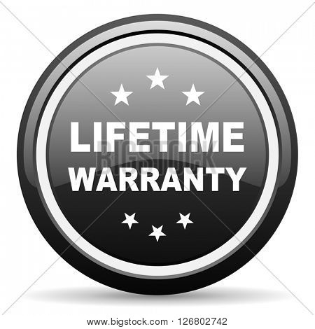 lifetime warranty black circle glossy web icon