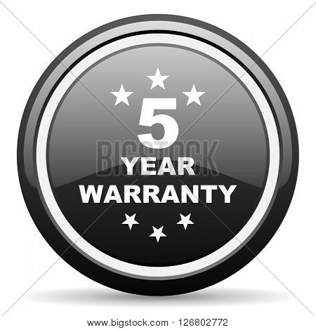 warranty guarantee 5 year black circle glossy web icon