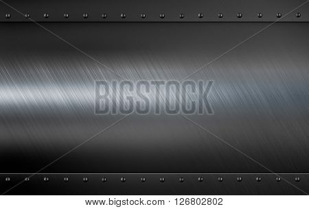 metal plate with rivets 3d illustration background