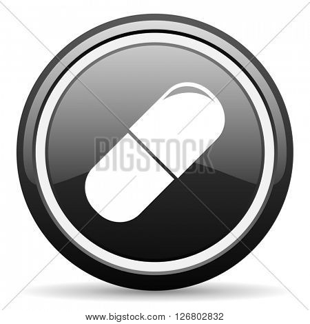 drugs black circle glossy web icon