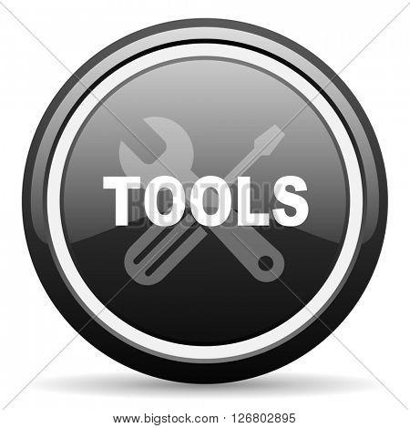 tool black circle glossy web icon