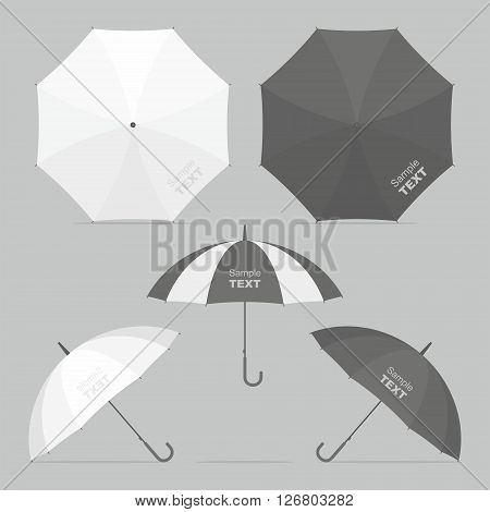 Umbrellas and parasols in various positions. vector illustration