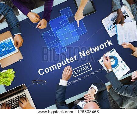 Computer Network Technology Online Website Concept