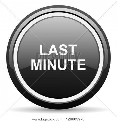 last minute black circle glossy web icon