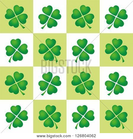 Shamrock tiles pattern - four leaved clovers on green and white square background.
