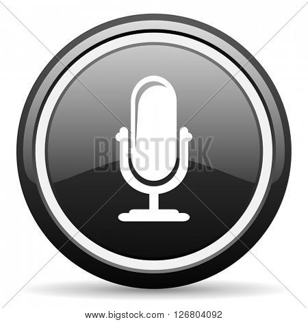 microphone black circle glossy web icon
