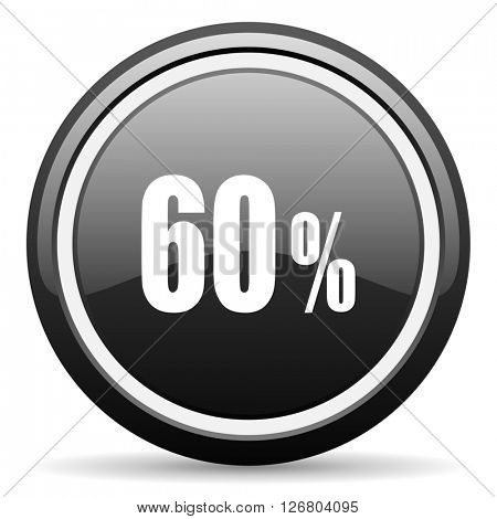 60 percent black circle glossy web icon