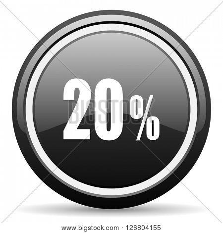 20 percent black circle glossy web icon