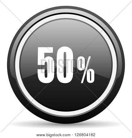 50 percent black circle glossy web icon