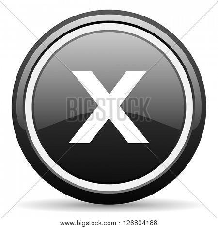 cancel black circle glossy web icon
