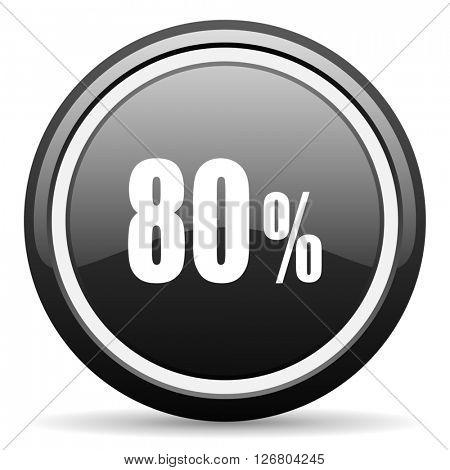 80 percent black circle glossy web icon
