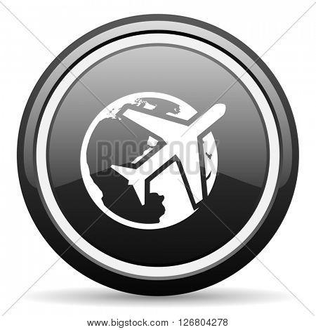 travel black circle glossy web icon