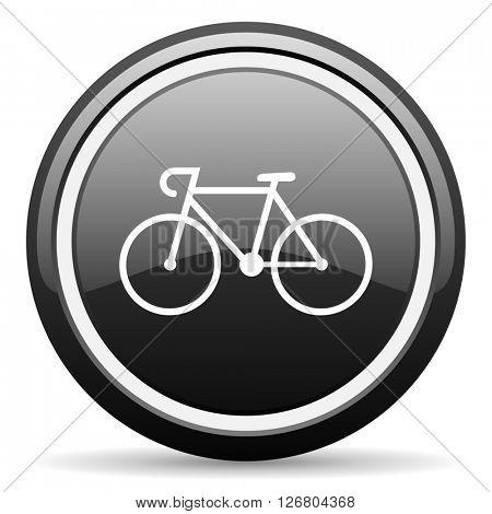 bicycle black circle glossy web icon
