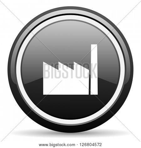factory black circle glossy web icon
