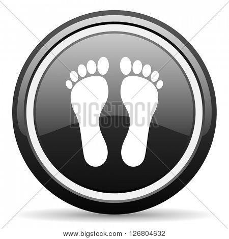 foot black circle glossy web icon