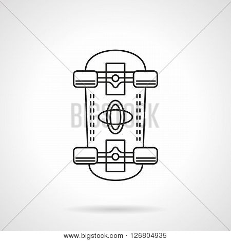 Skateboard a bottom view. Equipment for outdoors active leisure and extreme sports. Street championship. Sport goods store. Flat line style vector icon. Single design element for website, business.