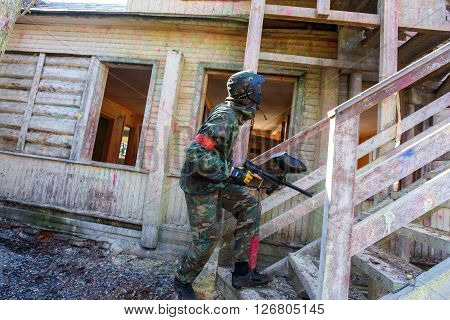 Saint-Petersburg, Russia - April 10, 2016: Paintball student tournament of Bonch Bruevich university in Snaker club. Fort siege.