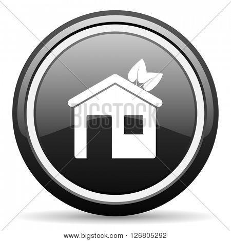 house black circle glossy web icon