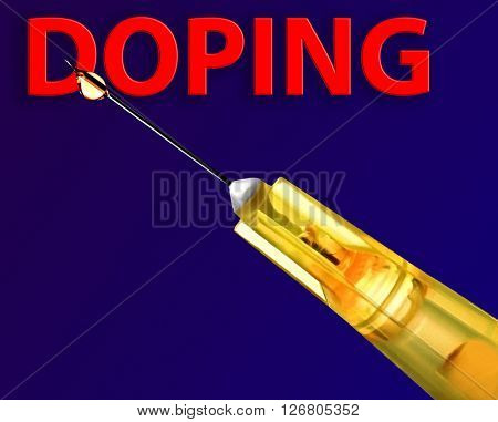 Stop doping concept. Needle of syringe on blue background