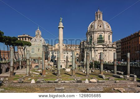 Panoramic view of imperial forum - Rome Italy