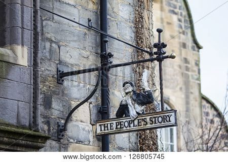EDINBURGH SCOTLAND - MARCH 9TH 2016: The Peoples Story Museum located in the historic Canongate Tolbooth in Edinburgh on 9th March 2016.