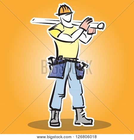Builder construction worker in protective wear and the helmet does the job. Builder icon. Flat design vector illustration