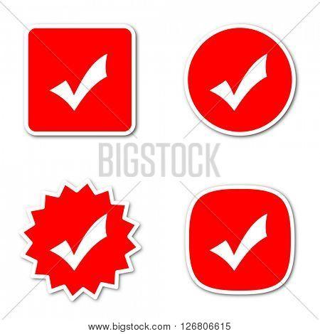 accept simple red web internet icon set flat design sticker tag