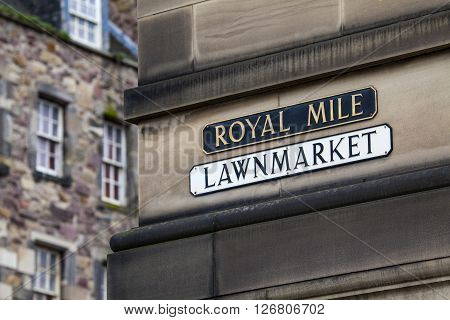 A street sign for Lawnmarket which is situated on the historic Royal Mile in Edinburgh.